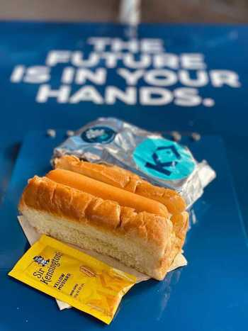 The bun and the ballot box: Kvarøy gave away 5,000 salmon hot dogs to US voters.