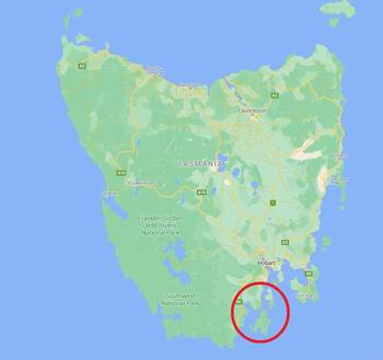 The fish escaped in the D'Entrecasteaux Channel, circled. Click to enlarge. Map: Google.