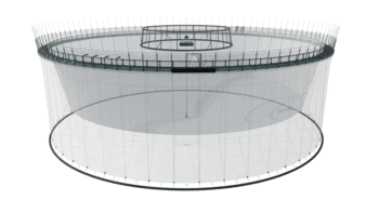 Huon's Fortress Pen design uses a lightweight net designed to withstand an extremely high current flow. Click on image to enlarge. Illustration: Huon Aquaculture.