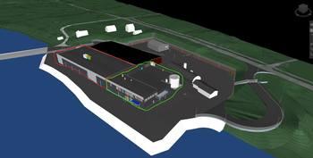 Utbygging av AquaGen sitt landbaserte stamfiskanlegg Profunda i Barstadvika. Nyeste utbygging (2021-22) er merket med grønt og forrige byggetrinn (2018) er merket med rødt. Deler av hallen merket med rødt vil innredes som del av den nye utbyggingen.