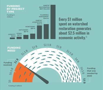 Washington has invested $1bn in salmon recovery, but it's not enough, says the report's authors. Graphic: State of Salmon report.