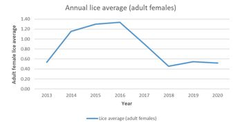 Sea lice averages since 2013. Click on image to enlarge. Graphic: SSPO.