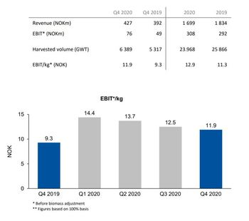 SSF's performance in Q4 and 2020. Click on image to enlarge. Graphic: Lerøy presentation.