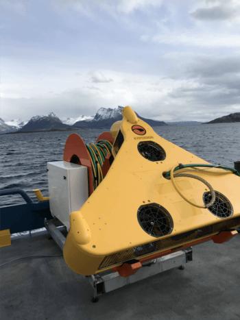 Tamaño real del StealthCleaner, el ROV más potente y revolucionario observado desde una embarcación en Noruega. Foto: Roy Ohren, COO de Ocein.