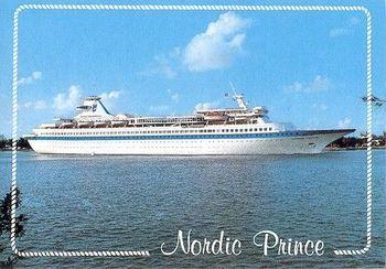 M/S «Nordic Prince» var et prektig skip som prydet mange postkort. Som service for gjestene hadde skipet eget fremkallingslaboratorium for foto, og eget trykkeri. Foto: Ukjent