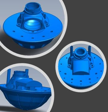 Illustrations of Lift Up's patented Combi-cone, which contains large holes for morts and smaller ones for sludge.