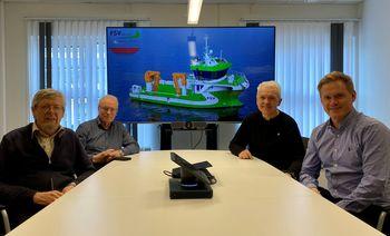 Fra venstre: Kåre Sletta (Daglig leder Sletta Verft), Lars Liabø (Styreformann Sletta Verft), Per Olav  Myrstad (Styreformann FSV Group) og Arild Aasmyr (CEO i FSV Group). Foto: Sletta Verft