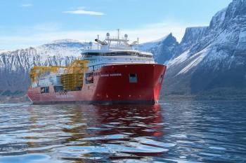 «Nexans Aurora» overlevert fra Ulstein Verft til Nexans Norway. Foto: Ulstein Group