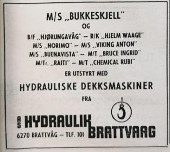 Gratulasjonsannonse i Skipsrevyen nr. 1/1971.
