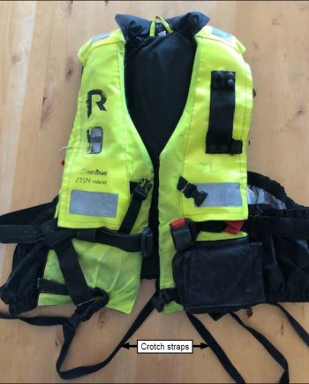 Clive Hendry's lifejacket, which slipped off along with his oilskin jacket when a colleague tried to save him. Photo: MAIB.
