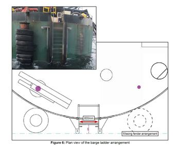 A photo and illustration of the feed barge, which was missing a tyre following a heavy contact with a vessel a few days earlier. Click on image to enlarge. Illustration: MAIB.