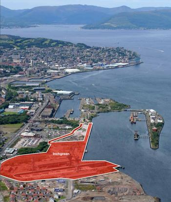 The dry dock and adjacent development site, both shaded orange, at Inchgreen. Click on image to enlarge. Image: Peel Ports.