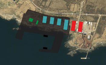 The site at Kvalnes: Phase 1 in green, phase 2 in blue and phase 3 in red. Click on image to enlarge. Graphic: Andfjord Salmon Q1 presentation.