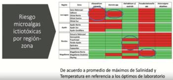 Riesgo de microalgas tóxicas por región y zonas (Hacer click en la imagen para ampliar). Fuente: Claudia Uribe.