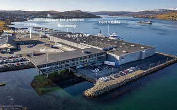 The Bakkafrost headquarters and integrated slaughter and processing plant at Glyvrar. Click on image to enlarge. Photo: Bakkafrost.
