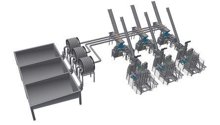 Distribusjon til pakkelinjer i en pelagisk fabrikk. Systemtegning: MMC First Process.