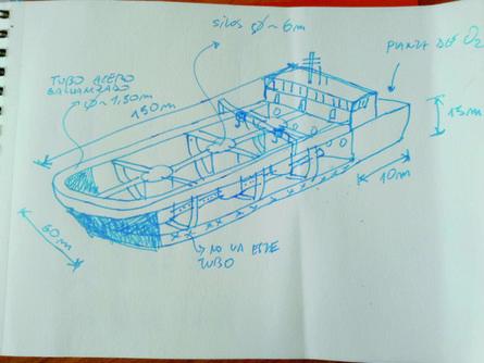 El primer dibujo de Ocean Arks Tech fue realizado en una servilleta, en el verano de 2017. Imagen: Ocean Arks Tech.