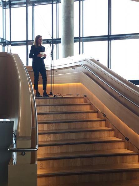 Palabras de bienvenida de Therese Log Bergjord, CEO de Skretting. Foto: Alejandra Yermany, Skretting.
