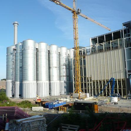 Much of the work on the silos has been completed. The factory should begin production before the end of the year.