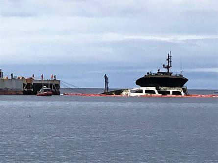The Seikongen reaches a near-upright position after more than eight months under the waves. Photo: Government of Chiloé