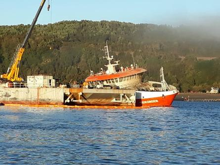 The wellboat will be checked for seaworthiness before being towed 800km to the north. Photo: Maritime Governance of Castro.