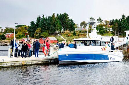 Den nye båten til Åkerblå har en toppfart på 35 knop, og er den tredje båten i rekken levert fra Skarsvåg Boats. Foto: Trond Hammervik.