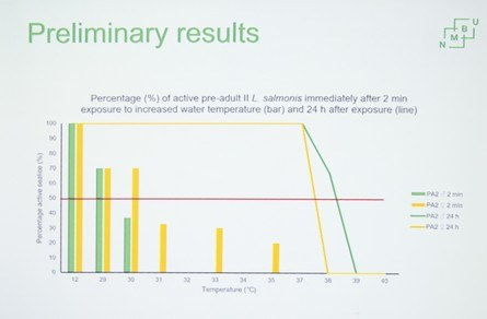 Figure 1. Percentage of pre-adult salmon lice active after two minutes of exposure at different temperatures (bar chart) and active after 24 hours of recovery (line). Yellow is female lice, green is male. Source. Melanie Andrews.