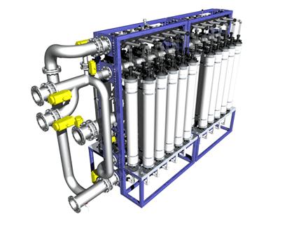 Sjøvannet renses først gjennom 2 filtre - et mekanisk filter og deretter et ultrafiltreringsanlegg som tar ut alle partikler, alger, bakterier og virus. Illustrasjon: Hardingsmolt.