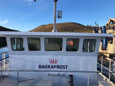 The bridge of the new feed barge, converted from a bulk carrier by JT electric for Bakkafrost.