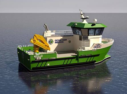 The new vessel is designed primarily for net cleaning and has a workshop and separate net-cleaner engine room. Click to enlarge picture.
