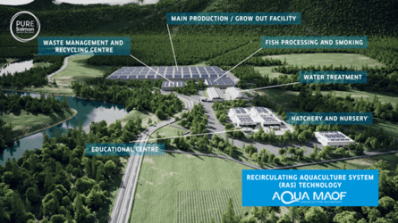 Pure Salmon's on-land farms will include a hatchery and a processing facility.