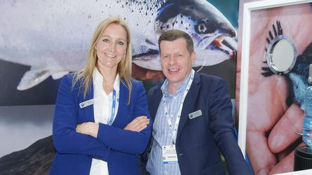 Scottish Sea Farms communications and marketing manager Lesley Dougall and managing director Jim Gallagher. Photo: FFE.