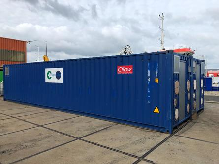 The Hydrolicer is housed in two 40ft containers which will be built on to the deck.