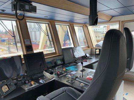 Kontrollrommet på det nye servicefartøy fra Amar Shipping. Foto: Amar Shipping.
