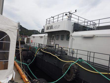 Akva Group hadde tatt med seg flåten til Aqua Nor 2019. Foto: Ole Andreas Drønen