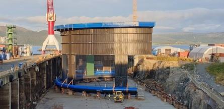 Cage number three is being built at Fosen Yard AS's yard on Kvithylla in Trøndelag. Photo: Midt-Norsk Havbruk.