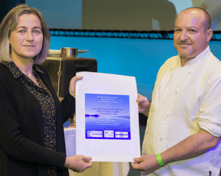 SSPO chief executive Julie Hesketh-Laird presents a certificate to student chef Paul McLean. Photo: SSPO.