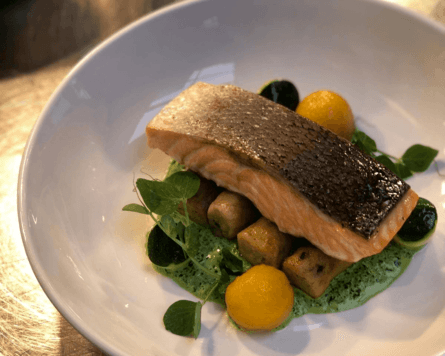 McLean's winning dish of baked salmon, creamed spinach and ricotta gnocchi . Photo: SSPO.