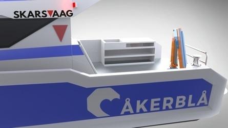 Fartøyet er 13 meter og er den fjerde båten Skasvåg Boats bygger for Åkerblå. Illustrasjonstegning av den nye båten til Åkerblå. Foto: Skarsvåg Boats.