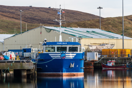 The Fair Isle tied up at Scalloway Pier, Shetland. Click on images to enlarge. Photo: SSF.