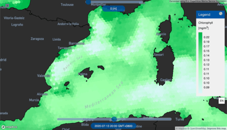 Chlorophyll concentrations are shown in green. Click on image to enlarge.