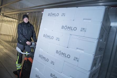 Aistis Navikauskas lastar inn kassar med BÖMLO-laks i containeren som skal til England. Foto - Bremnes Seashore.