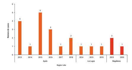 Casos clínicos de Anemia infecciosa del Salmón (ISA), presentados entre los año 2013 y 2020 por región. Fuente: Sernapesca.