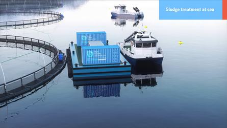 The system can be barge mounted to process sludge at sea.