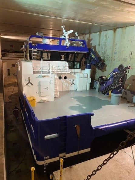 Det har også vært noe forskyvning på en arbeidsbåt som var lagret under dekk. Foto: Sjøfartsdirektoratet