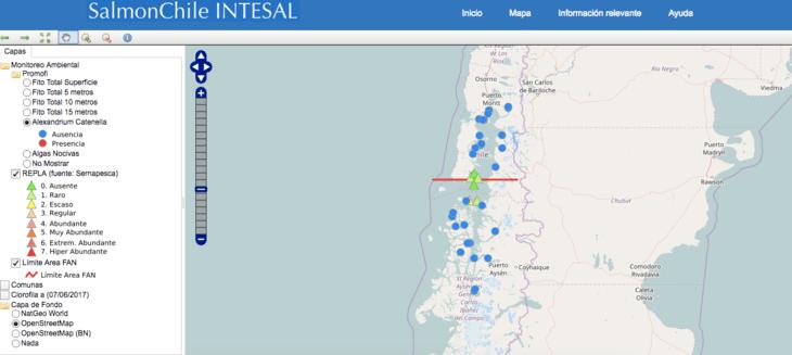 Intesal presenta mapa interactivo público de monitoreo de fitoplancton