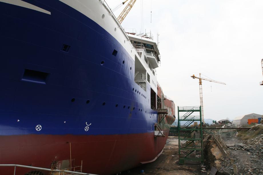 Trist sorti - vi frykter at siste industrielle skipsproduksjon nå er til ende ved Fosen-verftet i Rissa kommune. Arkivfoto: Asle Strønen