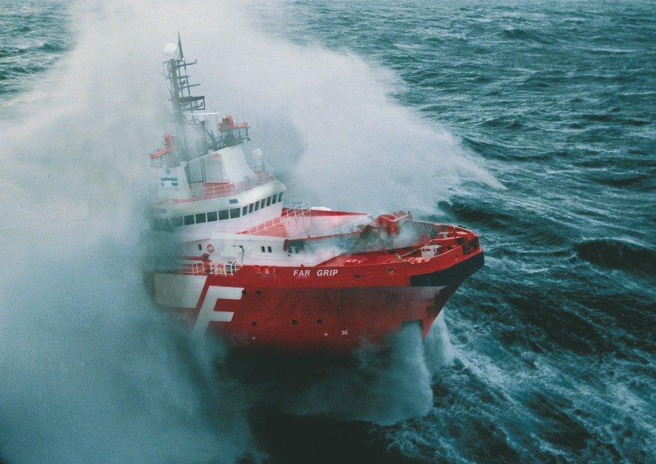 "Ill.foto: ""Far Grip"" i storm. Arkivfoto: Farstad Shipping"