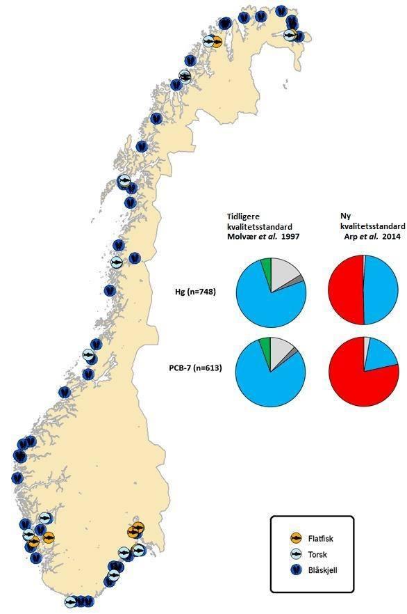 Kartet gir en oversikt over hvor nivåer av kvikksølv (Hg) og miljøgiften PCB-7 i torsk, blåskjell og tre flatfiskarter (rødspette, sandflyndre og skrubbe) fra lite påvirkede stasjoner i perioden 1981-2014 er målt gjennom MILKYS-programmet. Kakediagrammene til venstre viser prøver som er klassifisert etter det tidligere klassifiseringssystemet (Molvær m.fl. 1997). Kakediagrammene til høyre viser nøyaktig samme prøver klassifisert etter de nye grenseverdiene. Blå viser klasse I - lite eller ubetydelig forurenset etter tidligere system eller god tilstand etter nytt system . Grønn viser klasse II – moderat forurenset. Lys grå og mørk grå indikerer hhv under eller over antatt bakgrunnsnivå for arter som ikke var omfattet av det tidligere systemet (Green og Knutzen, 2003). Rød viser overskridelse av de nye miljøkvalitetsstandardene EQS (Environmental Quality Standards)