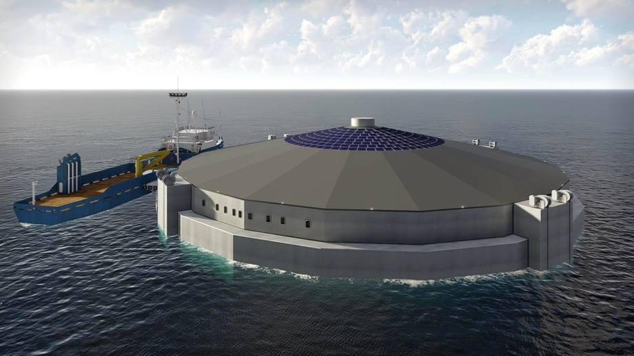 Illustrasjon av konseptet AquaSemi. Kilde: Måsøval Fiskeoppdrett.